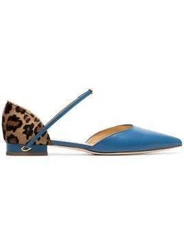Jennifer Chamandi sky blue Eric leopard print leather pumps
