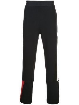Moncler side stripe logo patch track pants - Blue
