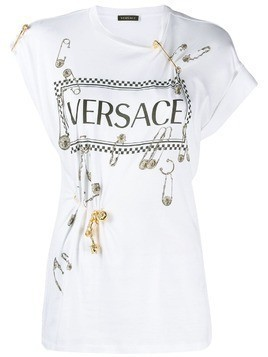 Versace vintage logo safety pin T-shirt - White