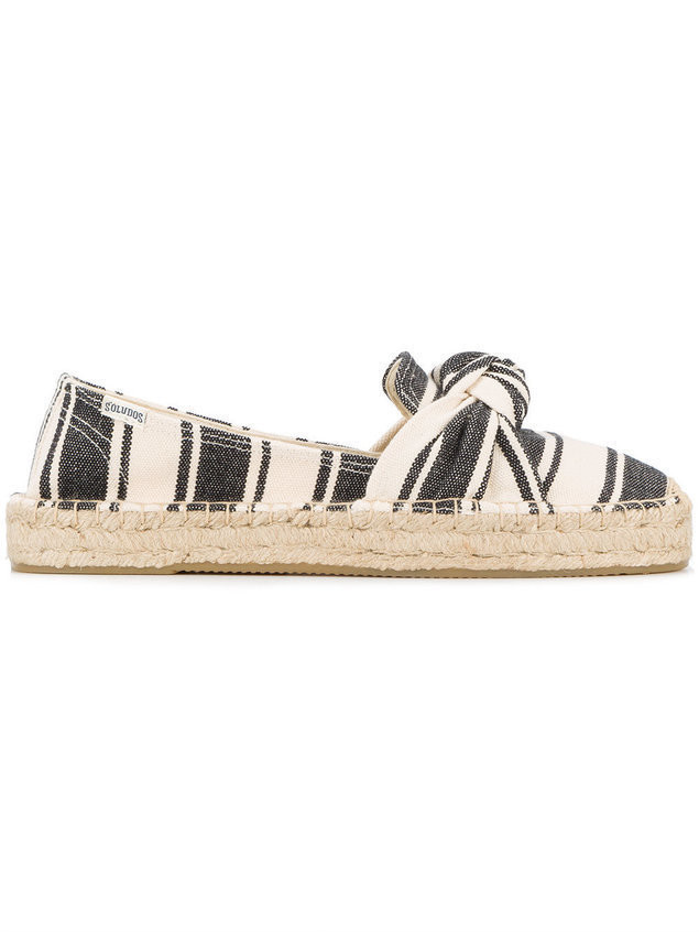 Soludos Striped Bow Espadrilles - Black