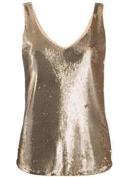 Blanca sequinned sleeveless top - GOLD