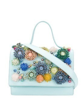 Giancarlo Petriglia bead appliqué tote - Blue