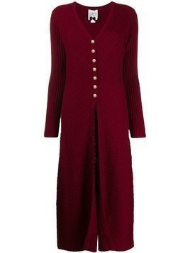 Edward Achour Paris V-neck knit dress - Red