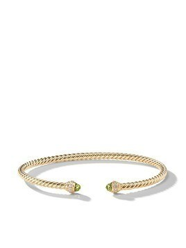 David Yurman 18kt yellow gold Cable Spira peridot and diamond 3mm cuff - 88APRDI