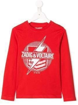 Zadig & Voltaire Kids logo lightening bolt print T-shirt - Red