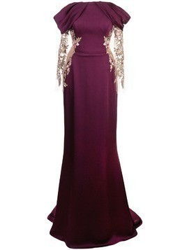 Marchesa satin gown with embellished cut-out - Purple