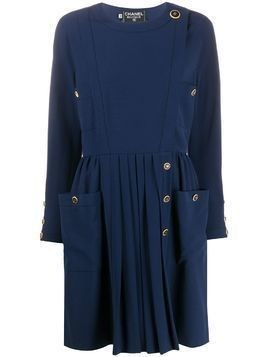 Chanel Pre-Owned side-buttoned long-sleeved dress - Blue
