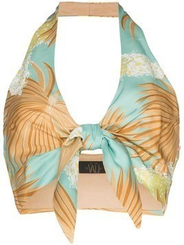 De La Vali Paco palm print cropped top - 011 Blue Palm