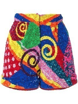 Manish Arora swirl patchwork sequin shorts - Multicolour