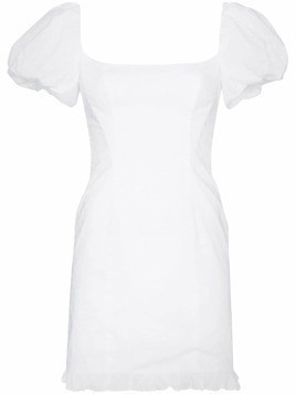 De La Vali Koko puff sleeve square neck cotton mini dress - White