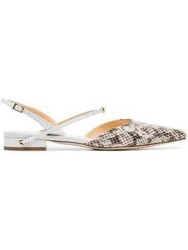 Jennifer Chamandi white and brown vittorio snake print leather slingbacks