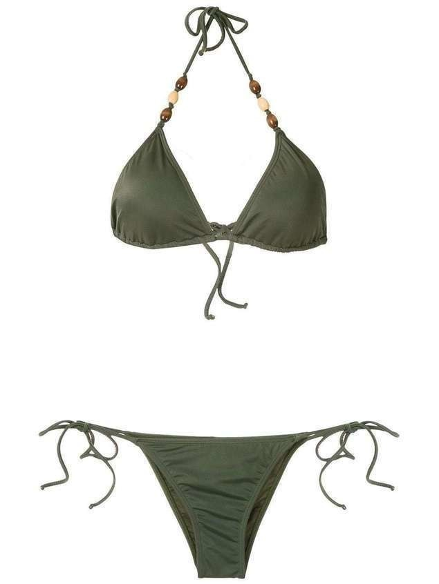 Brigitte embellished triangle bikini set - Green