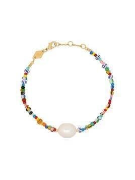 Anni Lu 18kt gold-plated Alaia rainbow beaded pearl bracelet - Blue