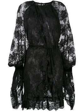 Christian Pellizzari asymmetric lace dress - Black