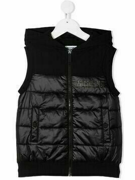 Moschino Kids hooded logo gilet - Black
