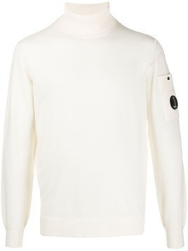 CP Company signature lens turtleneck jumper - White