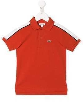 Lacoste Kids shoulder stripe polo shirt - Red
