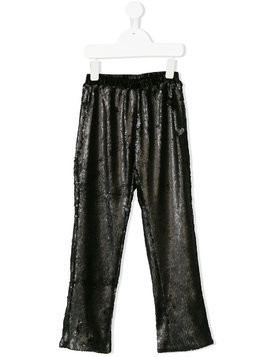 Le Mu elasticated waistband sequinned trousers - Black