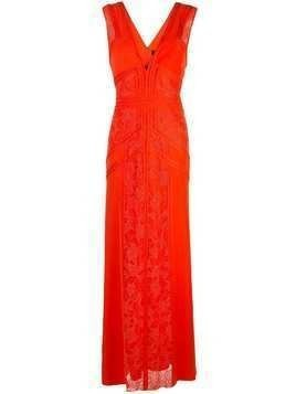Tadashi Shoji lace inserts evening dress - Red