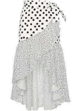 De La Vali Castana polka-dot ruffled-cotton wrap skirt - White