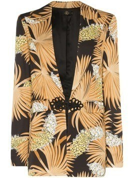 De La Vali Dean palm-print tailored blazer jacket - 012 Black Palm