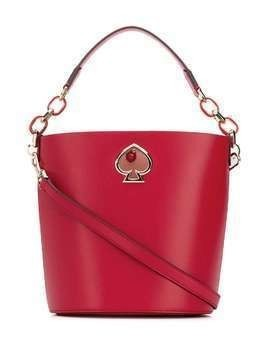 Kate Spade logo plaque bucket bag - Red