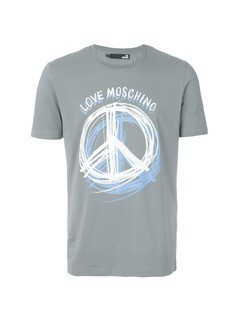 Love Moschino Peace print T-shirt - Grey