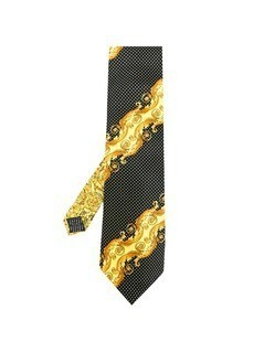 Versace Vintage baroque printed dotted tie - Yellow&Orange