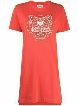 Kenzo tiger-motif T-shirt dress - ORANGE