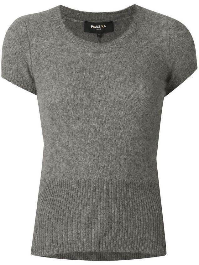 Paule Ka ribbed knit top - Grey