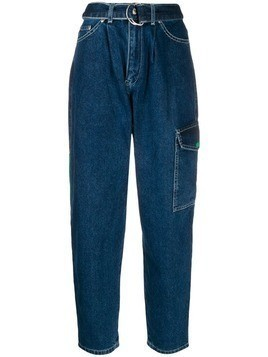 Benetton carrot fit belted jeans - Blue