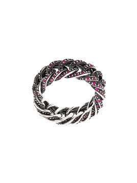 Ugo Cacciatori embellished chain ring - Metallic