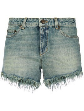 Saint Laurent distressed ripped shorts - Blue