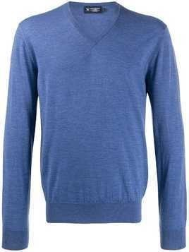 Hackett ribbed knit v-neck jumper - Blue