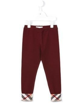 Burberry Kids check turn-up hem leggings - Red