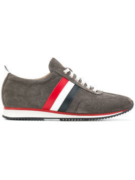 Thom Browne Striped Leather Running Shoe - Grey
