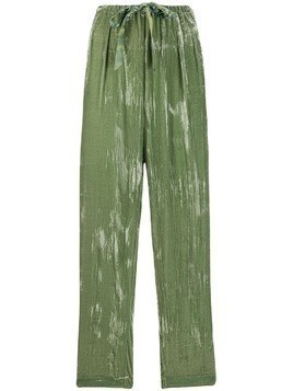 Forte Forte straight leg painted-effect trousers - Green