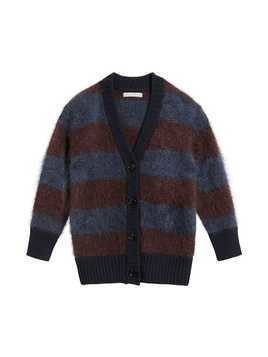 Burberry Kids Tri-tone Striped Mohair Blend Cardigan - Red