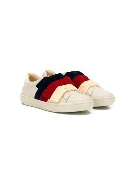 Gucci Kids bow sneakers - NEUTRALS
