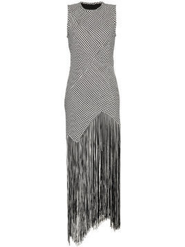 Proenza Schouler Houndstooth Fringe Dress - Black