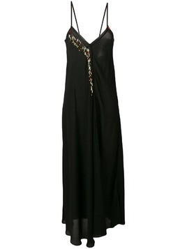 Giacobino bead-embellished slip dress - Black