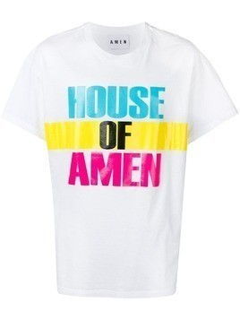 Amen logo colour-block T-shirt - White