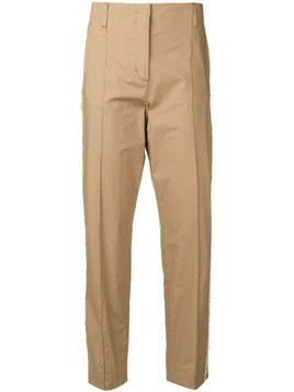 Dorothee Schumacher frayed side stripe trousers - Brown