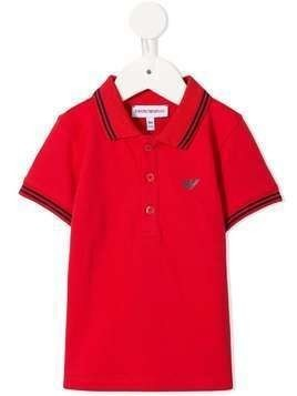 Emporio Armani Kids logo embellished polo shirt - Red