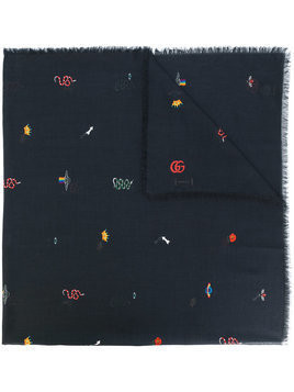 Gucci - embroidered scarf - Herren - Cotton/Modal - One Size - Black