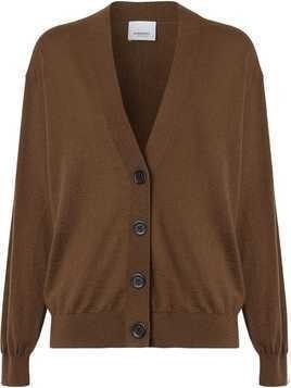 Burberry Vintage Check Detail Merino Wool Cardigan - Brown