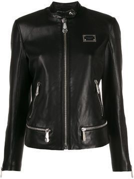 Philipp Plein logo plaque jacket - Black