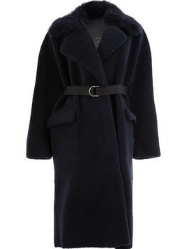 Blancha shearling trim coat - Blue