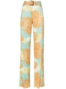 De La Vali Uma palm-print high-waist tailored trousers - 011 Blue Palm