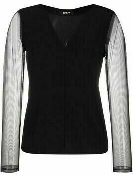 DKNY sheer-panel long-sleeve top - Black